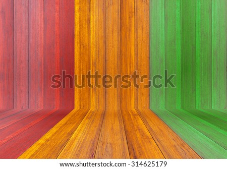 Reggae color and wooden plank Background - stock photo