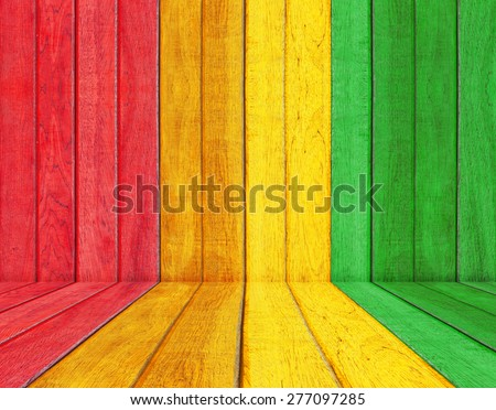 reggae color with wood floor Background - stock photo