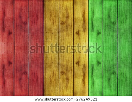 reggae color with wooden floor Background - stock photo