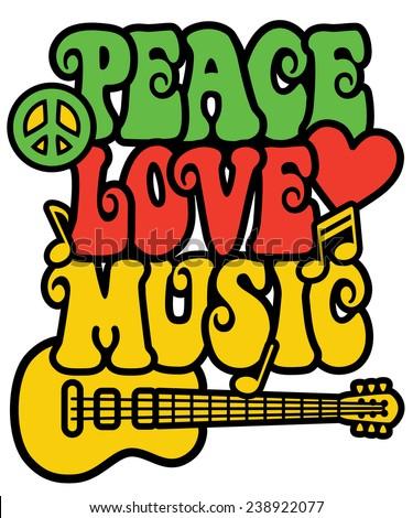 Reggaeinspired Peace Love Music Text Design Stock Illustration
