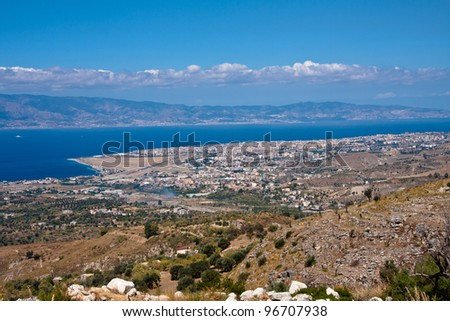Reggio Calabria, Italy,  aerial view,, Strait of Messina and Sicily on the background - stock photo