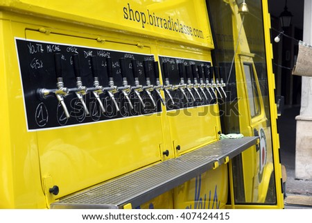 REGGIO EMILIA , ITALY 16 APRIL 2016 :  beer lines of beer on a truck to be used in demonstrations or street food markets. The craft beer on tap is one of the most consumed beverages