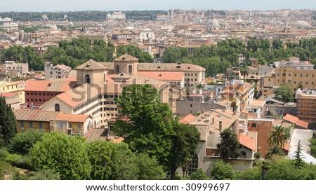 Regina Coeli prison in Rome, Italy. View from Gianicolo hill. - stock photo
