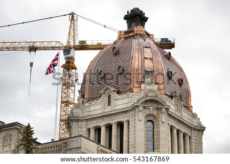 Regina Saskatchewan Legislature dome after repair copper
