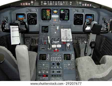 Regional jet flight deck - stock photo