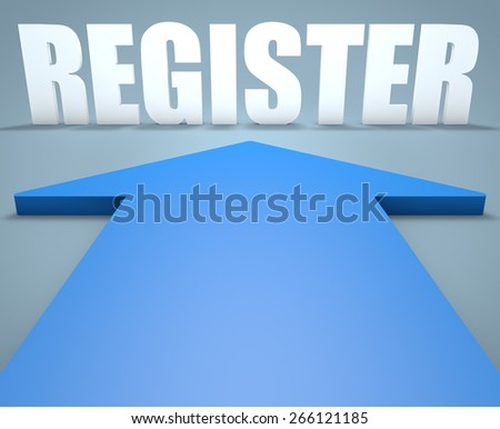 Register - 3d render concept of blue arrow pointing to text. - stock photo