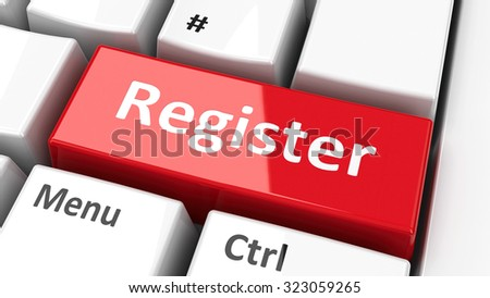 Register key on the computer keyboard, three-dimensional rendering - stock photo