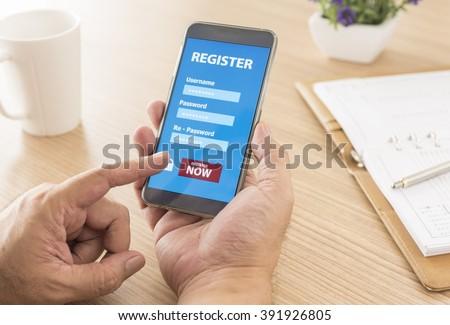 Register Membership Application on mobile smartphone, Business Concept. soft focus. - stock photo