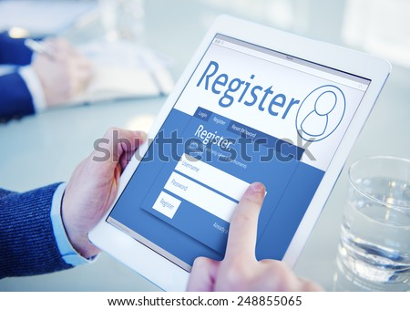 Register Membership Application Registration Join Office Browsing Concept - stock photo