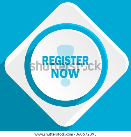 register now blue flat design modern icon for web and mobile app - stock photo