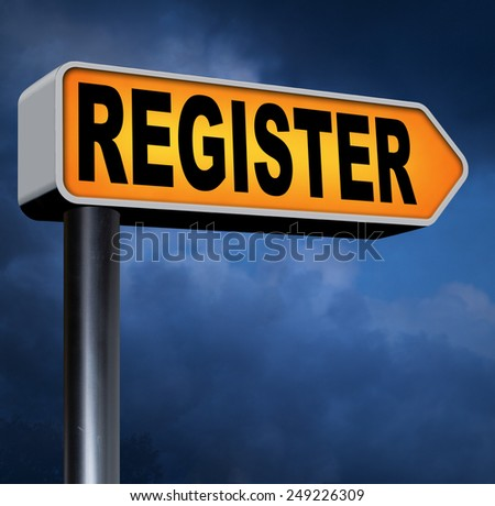 register now onine member registration sign   - stock photo