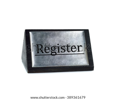 Register sign plate on white background - stock photo