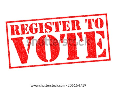 REGISTER TO VOTE red Rubber Stamp over a white background.