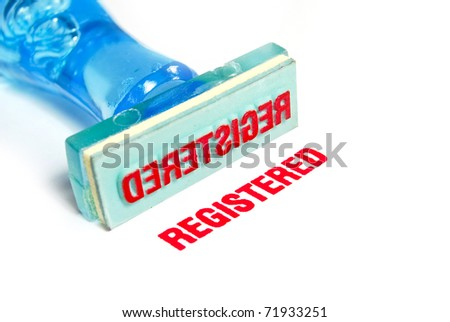 registered letter on blue rubber stamp isolated on white background