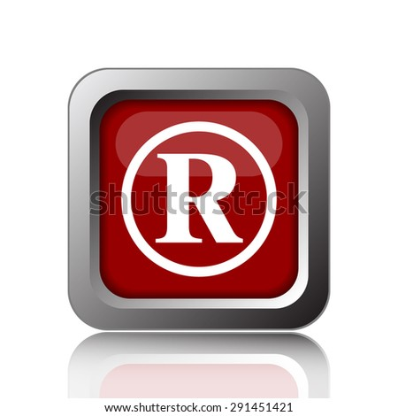 Registered mark icon. Internet button on white background