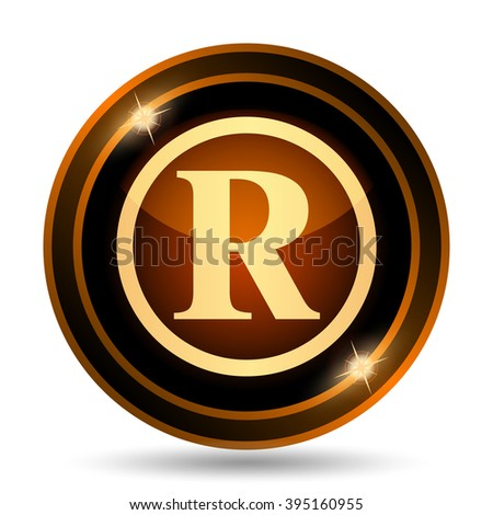 Registered mark icon. Internet button on white background.