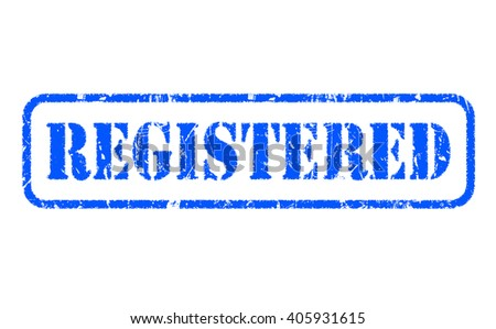 REGISTERED rubber blue stamp text on white background - stock photo