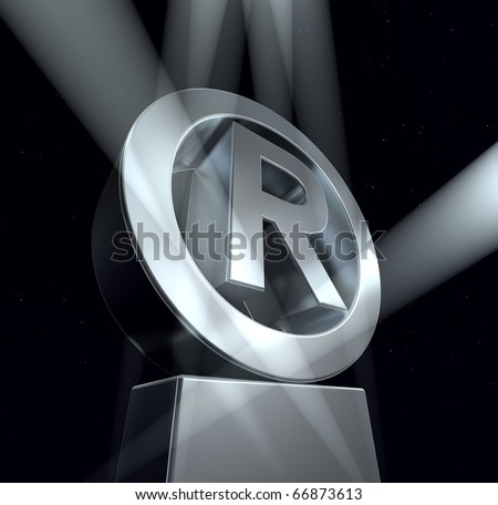 Registered trade mark Registered trade mark sign in silver on a silver pedestal - stock photo