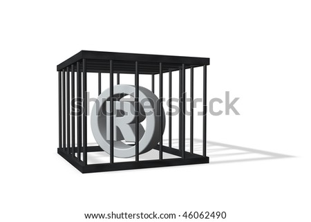 registered trademark symbol in a cage on white background - 3d illustration - stock photo