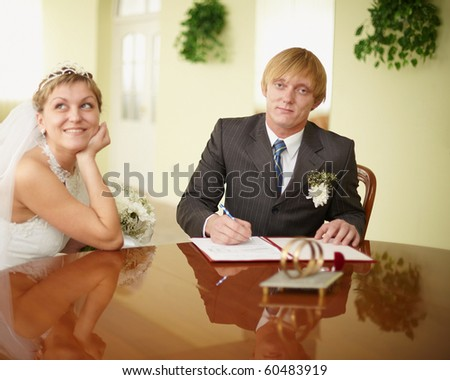 Registration of marriage in a festive atmosphere - stock photo