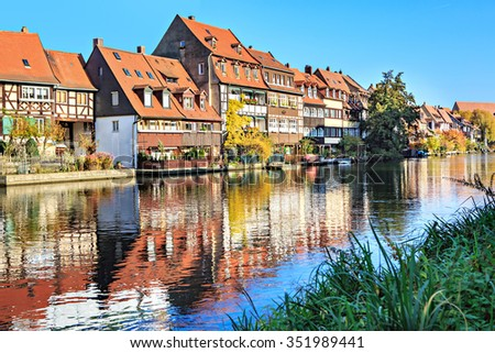Regnitz river view of Bamberg Town in Bavaria, Germany - stock photo