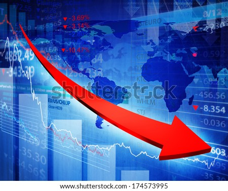 regress graph with arrow. - stock photo