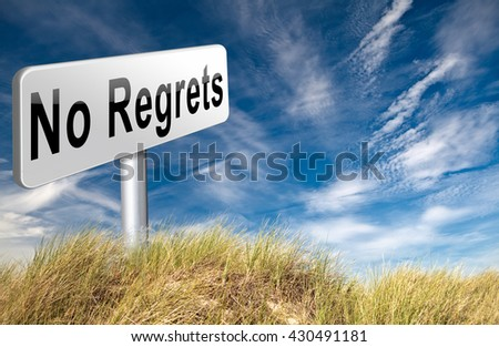 Regret or no regrets saying sorry and offer apologize being ashamed for bad decisions 3D illustration  - stock photo