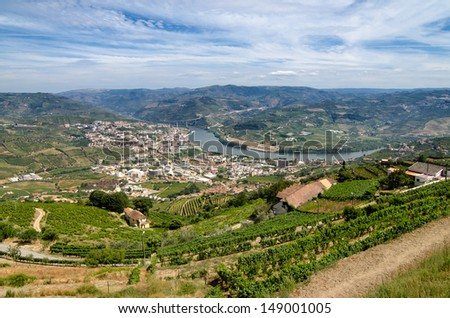Regua, Terraced vineyards in Douro Valley, Alto Douro Wine Region in northern Portugal, officially designated by UNESCO as World Heritage Site - stock photo