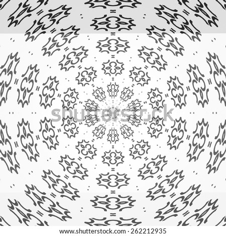 Regular black and white curtain pattern aligned radially. Halftone line ring illustration. Abstract fractal black and white background.  - stock photo