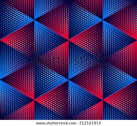 Regular colorful endless pattern with intertwine three-dimensional figures, continuous illusory geometric background, clear EPS10. - stock photo