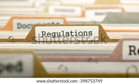 Regulations - Folder Register Name in Directory. Colored, Blurred Image. Closeup View. 3D Render.