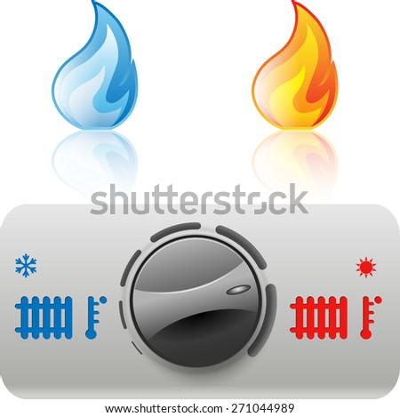Regulator boiler heating and hot water. Flame icon. Illustration - stock photo
