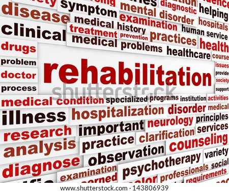Rehabilitation medical message concept. Health recovery creative message background