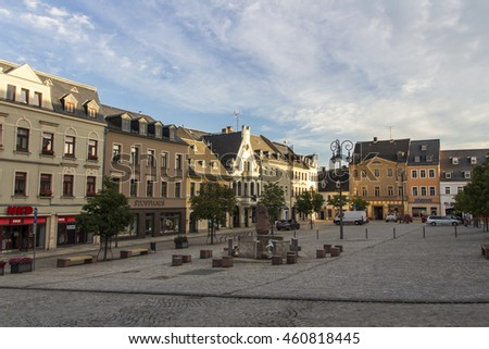Reichenbach, Germany - August 27, 2015: Market place in the inner city of Reichenbach (Vogtland) with a fountain and beautiful buildings