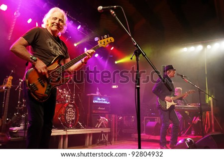"REICHENBACH, GERMANY - JANUARY 14: Member Leo Lyons of the rock group ""Ten Years After"" performs in concert Reichenbach on January 14, 2012 in Wuerttemberg, Germany"