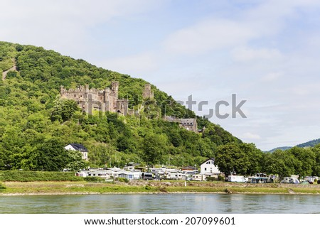 Reichenstein castle in famous rhine valley - stock photo