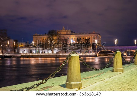 Reichstag building in Stockholm at night - stock photo