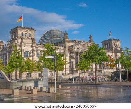Reichstag German houses of parliament in Berlin Germany - stock photo