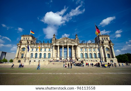Reichstag in Berlin on a sunny day - stock photo