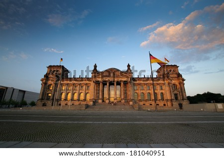 Reichstag in the evening in Berlin Germany