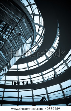 Reichstag - parliament building, inside the glass dome, blue tone picture. Berlin, Germany - stock photo