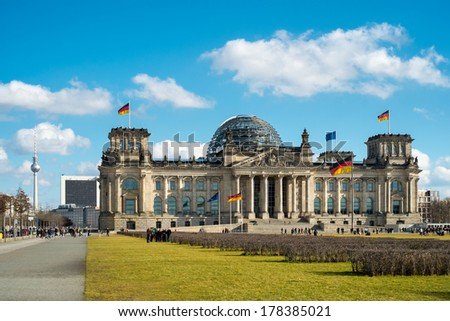 Reichstag - the German parliament in Berlin Germany - stock photo