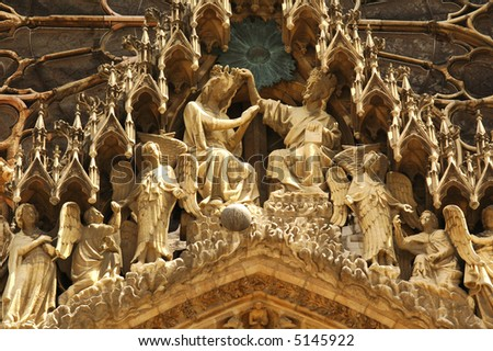 Reims (Champagne - Ardenne, France) - Details of the portals of the Cathedral - stock photo