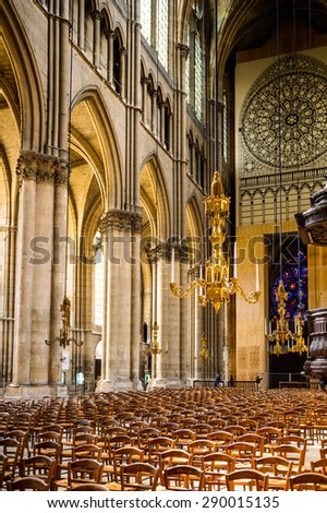 REIMS, FRANCE - JUN 9, 2015: Cathedral of Notre-Dame of Rheims,  Champagne-Ardenne, France. It's the seat of the Archdiocese of Reims, where the kings of France were crowned