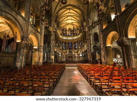 REIMS, FRANCE, SEPTEMBER 14, 2015 : Interiors and architectural details of Saint-Remi basilica, september 14, 2015, in Reims, Champagne, France.
