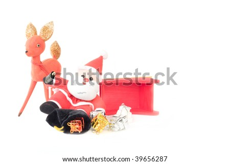 Reindeer and Drinking Santa Claus Sleigh Accident with bag of packages spilled onto the snow white background. - stock photo