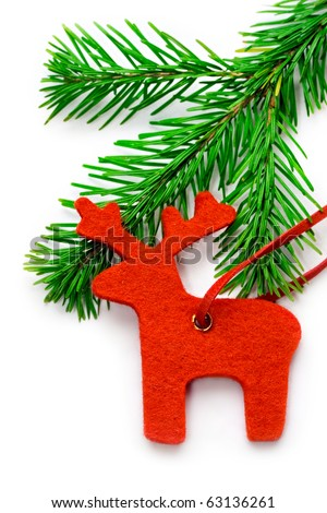 Reindeer and fir isolated on white - stock photo