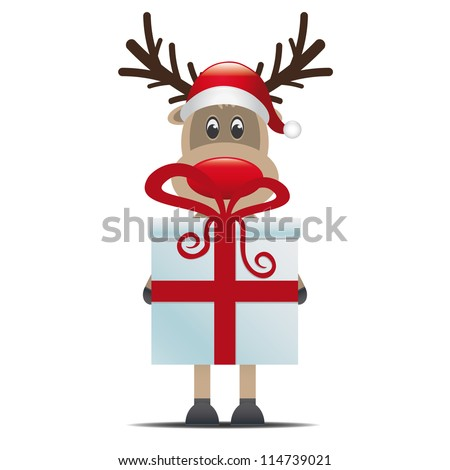 reindeer christmas gift box with red ribbon - stock photo