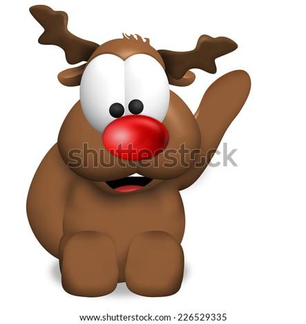 Reindeer Christmas red - stock photo