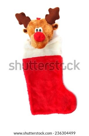 Reindeer Christmas Red Stocking isolated on white - stock photo